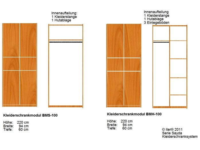 Kleiderschrank Raumhöhe | Kernbuche,massiv | Innenteilung variabel