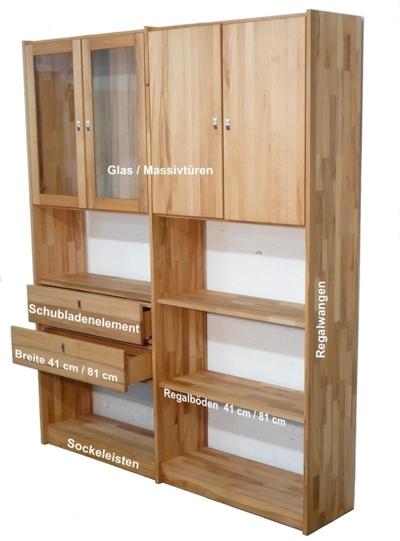 Kernbuche Wohnwand  Bücherregal individuell massiv