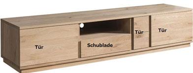 TV-Board massiv Holz Eiche hell mit Schubladen